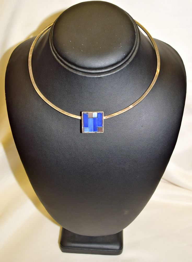 Vintage Silver Necklace with Ble Glass Stones