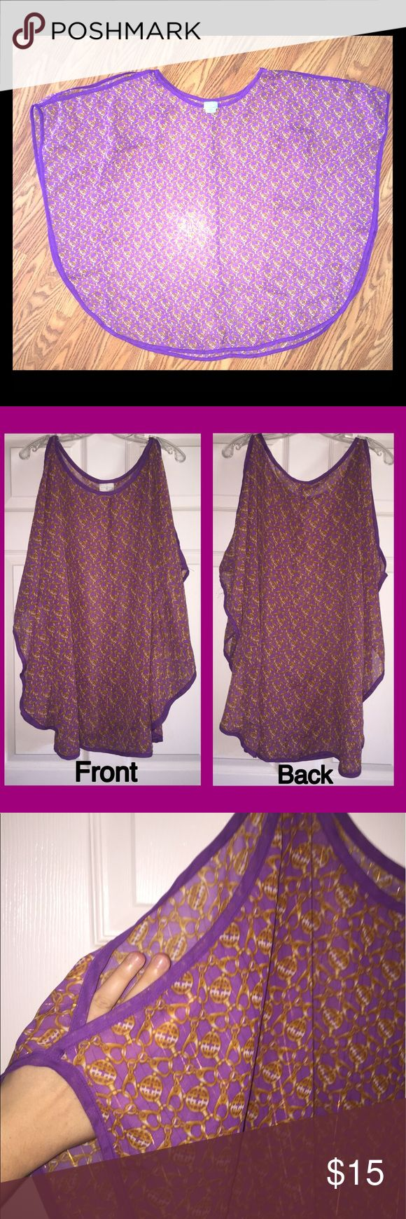 Jaclyn Smith Coverup Only worn once!  Beautiful purple swimsuit coverup perfect for a day spent at the beach or lake! Made by Jaclyn Smith. The shoulders are cut out which gives it an extra flowy look when worn! Bundle 3 or more items and save 15%!!! Jaclyn Smith Swim Coverups