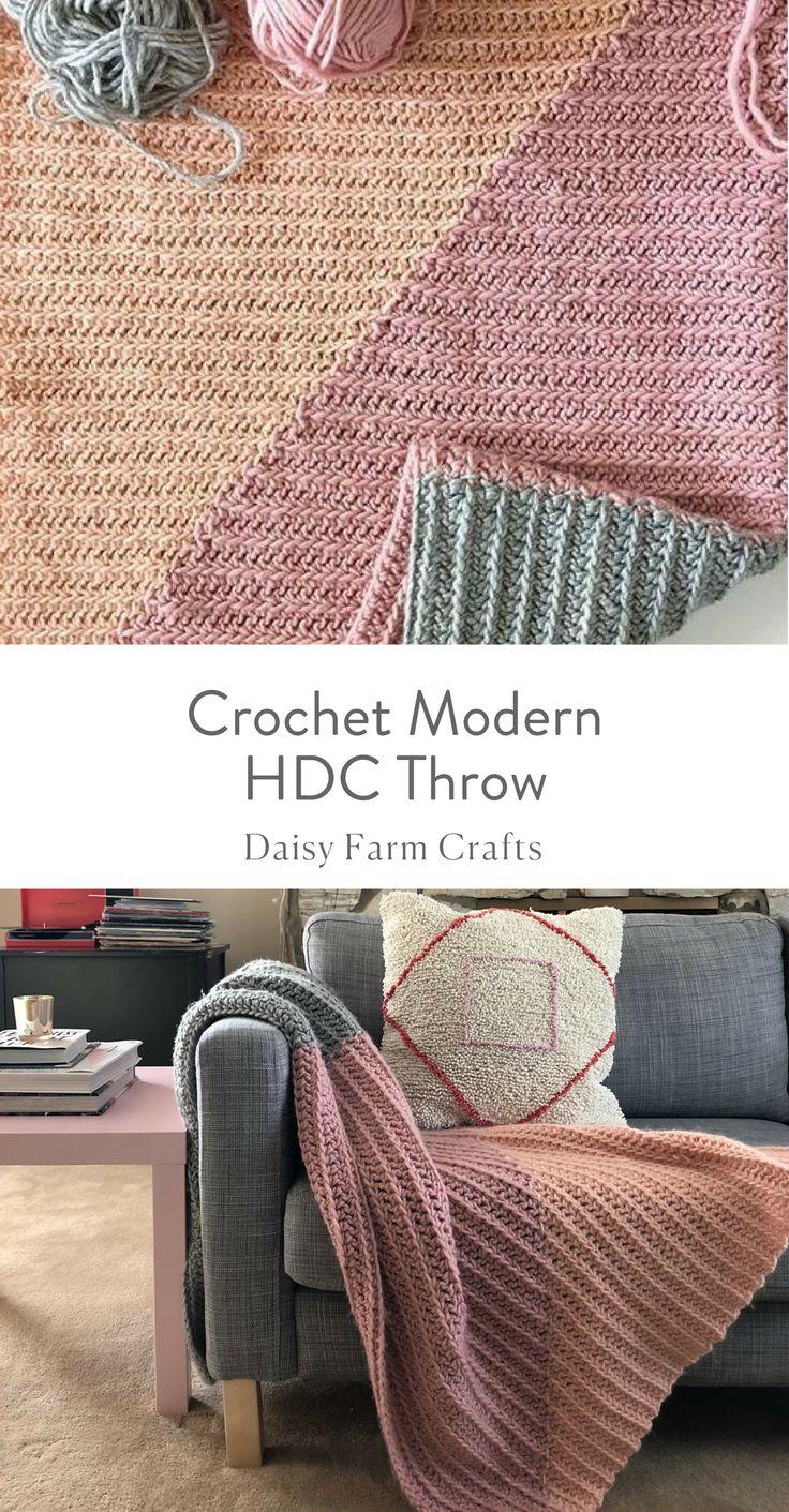 Free Pattern - Crochet Modern HDC Throw  #crochet #moderncrochet