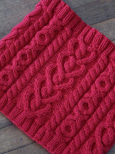 """In honour of Valentine's Day we have the Love and Kisses Cowl. I have wanted to do a """"heart"""" motif Cowl for quite awhile and so this cowl was born. In addition to the heart cables there is also X's and O's cables as well. It is the perfect addition to your winter wardrobe or maybe make it as a gift for someone you adore."""