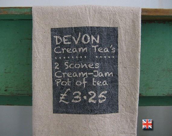 Devon cream tea towel