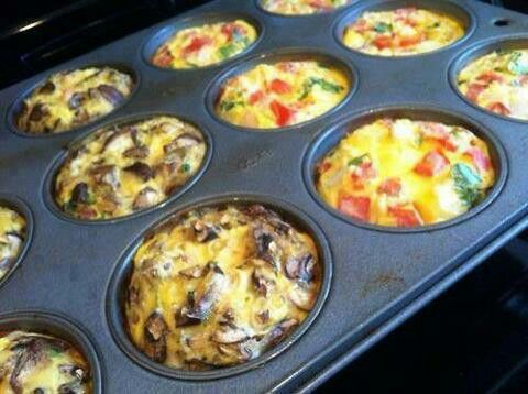 "BREAKFAST MUFFINS.Breakfast Muffins - basically any diced veggies,meat, or cheese you want in a regular muffin tin, cover with few eggs beaten with a bit of milk. Bake 325 x 30 mins, check doneness with toothpick. 1 tsp breadcrumbs in bottom of tins if desired for ""crust."" Keep in fridge, microwave x 30-45 secs."
