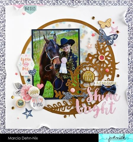Shine Bright - Scrapbook layout for JustNick Studios using the Fancy Floral Ring digital cut file. Paper and Embellishments are from Cocoa Vanilla Studios Free Spirit collection.