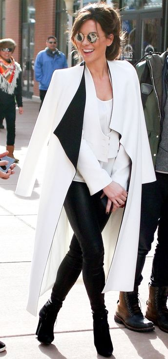 Sundance 2016: The Best (Coziest, Chicest) Style | People - Kate Beckinsale in a long white coat with black collar, black pants and booties