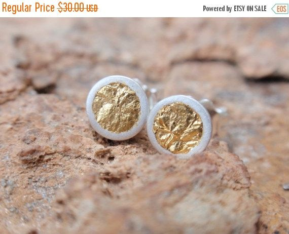 SALE 10% OFF stud earrings gold circle studs by preciousjd on Etsy