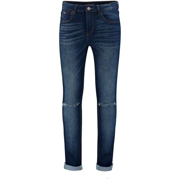 Washed Indigo Ripped Knee Skinny Jean (51 MXN) ❤ liked on Polyvore featuring jeans, distressing jeans, distressed skinny jeans, mens jeans, blue jeans y torn skinny jeans