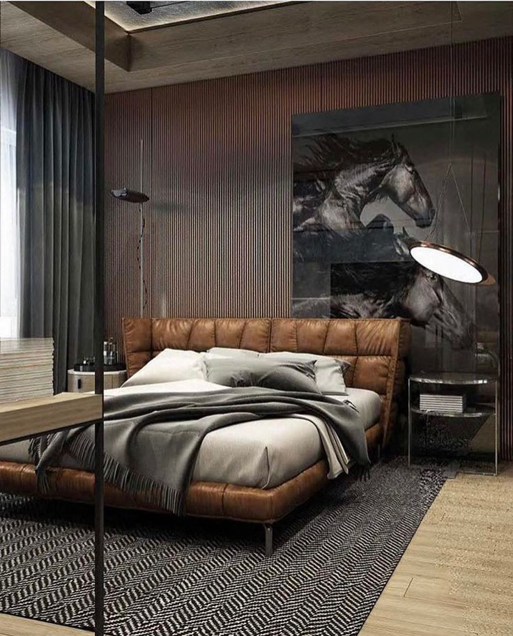 [repost] It's pleasantly challenging to figure out what we love most about this masculine theme; the leather bed, the mustangs on the wall, or the ceiling?  . . . Reposted from @architectview