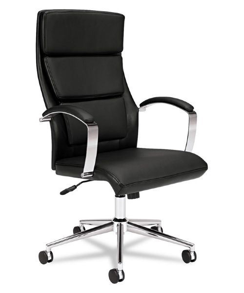 Basyx by HON VL105 Executive High-Back Chair - Black Leather - About Hon IndustriesHon Industries was founded after World War II, when three businessmen used scrap metal to manufacture index card file boxes fo...