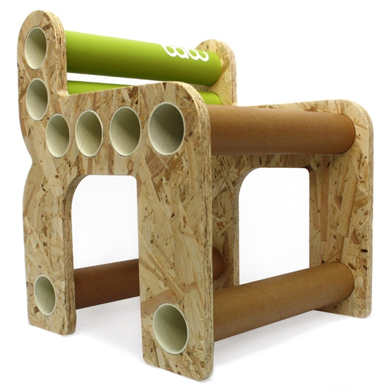 Chara - babu™ chair for kids (from 3 years) • Material: OSB + cardboard tube • Handmade design from non conventional materials; each model is unique because of the detail in the finishing of each piece.