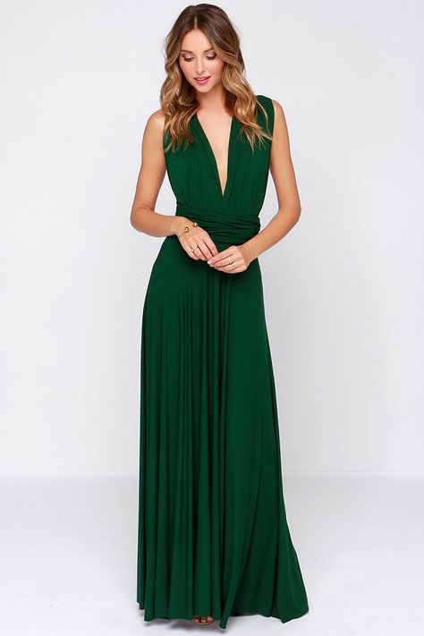 LULUS-Tricks of the Trade Forest Green Maxi Dress- convertible dress $68