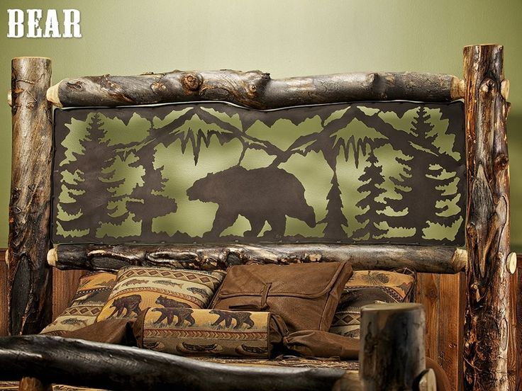 Aspen Estate Light Log Bed With Metal Insert Jhe S Log Furniture Place Bear Rustic Cabin