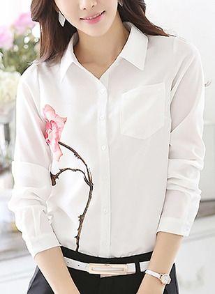 Floral Casuales Poliéster Cuello Manga larga Camisas de (1032760) @ floryday.com