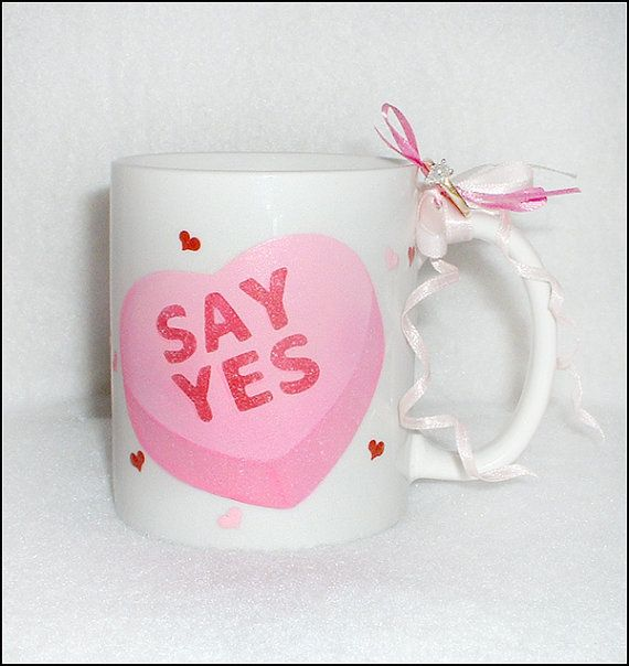 Candy Heart Marry Me Mug  Unique Wedding by SerendipityCrafts, $20.00