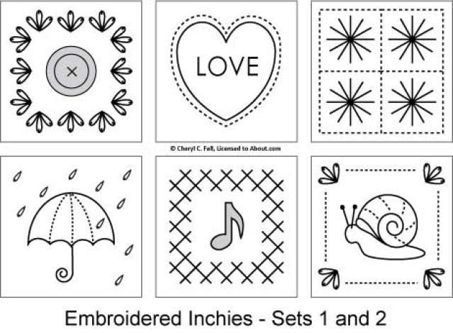 Inchies are 1-inch square designs worked in a variety of