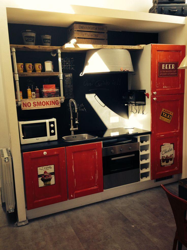 Red kitchen industrial
