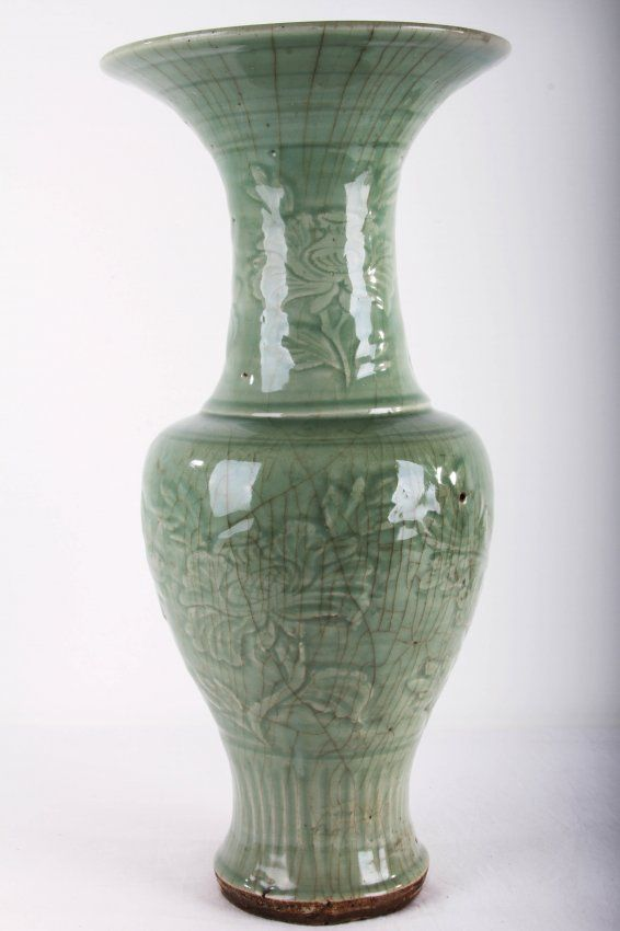 Chinese Ming Styled Longquan Kilns Flower Vase With Peony Decoration H 18 In W 8 5 In