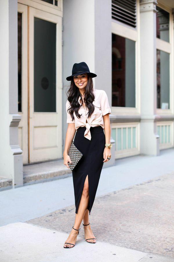 black hat, blush blouse tied, black high slit maxi skirt and simple strappy black sandals // great summer outfit