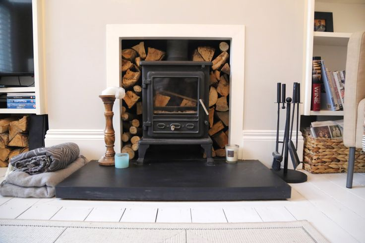 My Living Room. Firefox wood burning stove, with slate hearth. Dulux Dusted Moss 2 on the walls. Woodwork is Dulux Satinwood White. The floor is painted white, in Dulux Floorpaint.