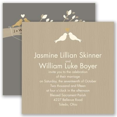 Rustic Charm | Invitations By David's Bridal - Invitation + RSVP = $3.5 each, $5 each with extra card