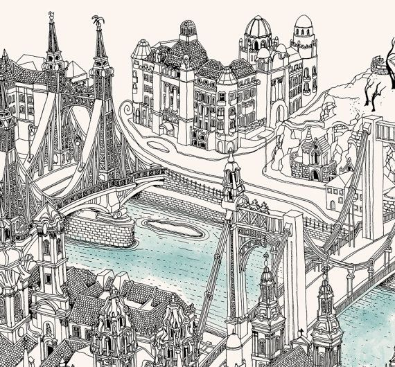 Very detailed freehand pen and ink 3D Birds Eye View map Poster.  The illustrated perspective Birds Eye View Map of Budapest presents a metropolis in
