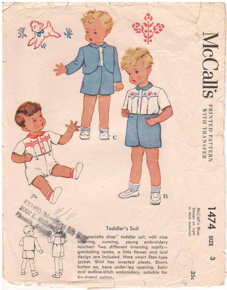 1949 - McCalls 1474 Vintage 1940s per cucire modello Toddler dimensione 3 tuta pagliaccetto camicia giacca Shorts trasferimenti ricamo di HappyIFoundIt su Etsy https://www.etsy.com/it/listing/470374989/1949-mccalls-1474-vintage-1940s-per