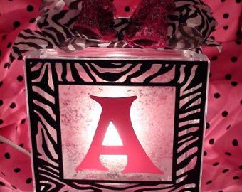 Personalized lighted glass block decor with any by TooSweetTees