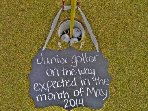 Golf themed pregnancy announcement
