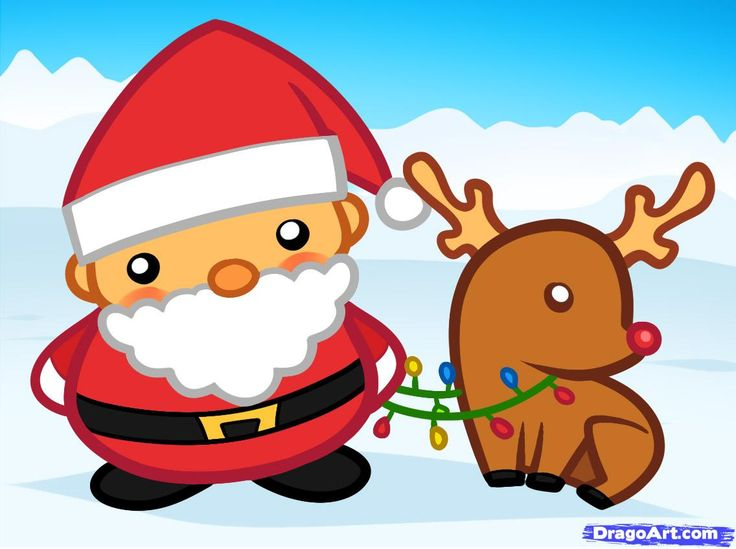 How to Draw website:  Santa and Rudolph, Santa and Rudolph