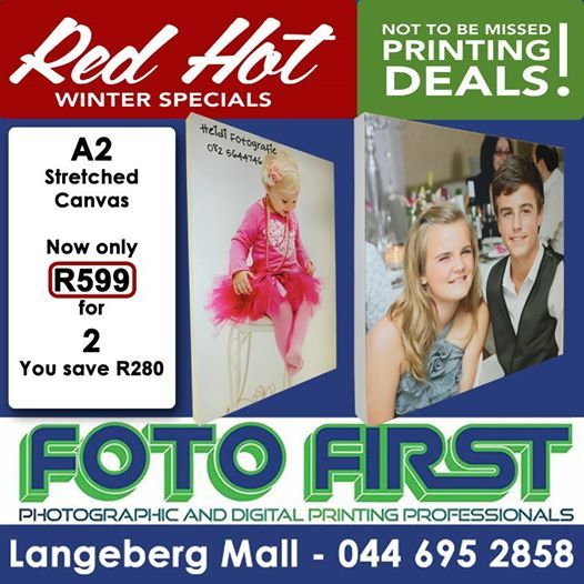 Visit Fotofirst for our Red Hot Winter Special. Get two A2 canvases for R599. You save R280. #fotofirst #canvas