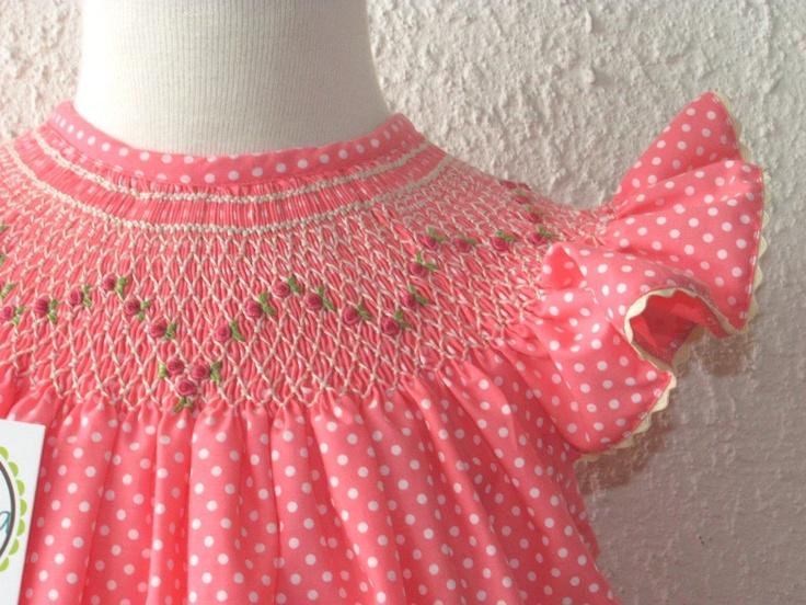Girl's smocked dresses, Girls bishop dress flutter sleeves polka dots, Smocked dress spring