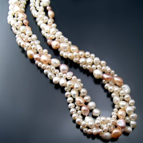 Peaches and cream: beautiful multi-strand pearl collar