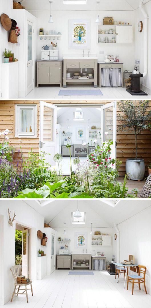 Super cool Scandinavian free standing kitchen in cottage
