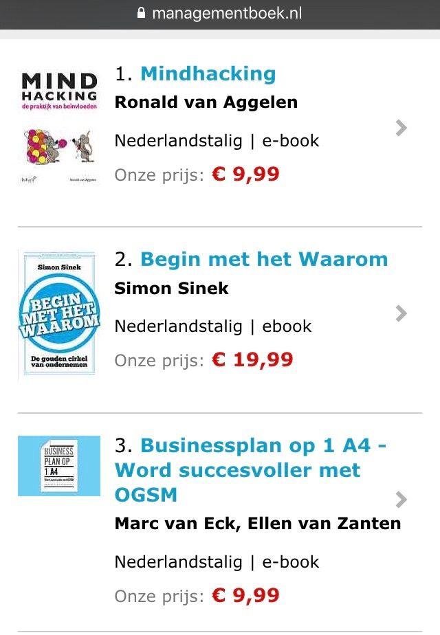 Het e-book 'Mindhacking, de praktijk van beïnvloeden' van Ronald van Aggelen op nummer 1 in de e-book TOP 100 van Managementboek. #mindhacking #ronaldvanaggelen #mgtboeknl #futurouitgevers