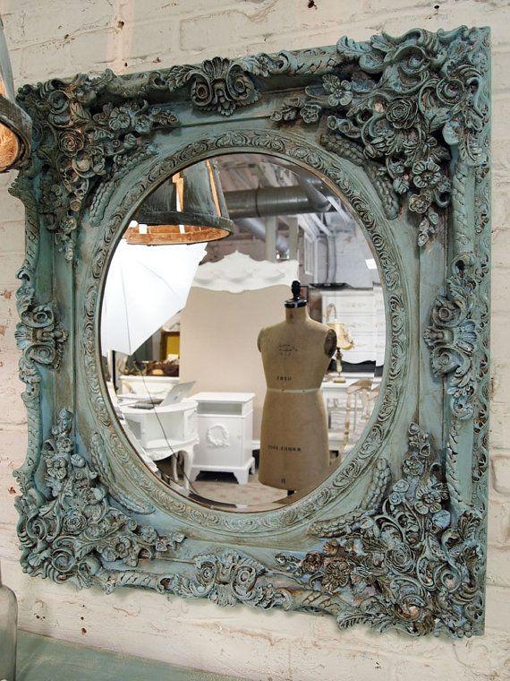 Bemalte Cottage Chic schäbigen Aqua Französisch Spiegel MR304