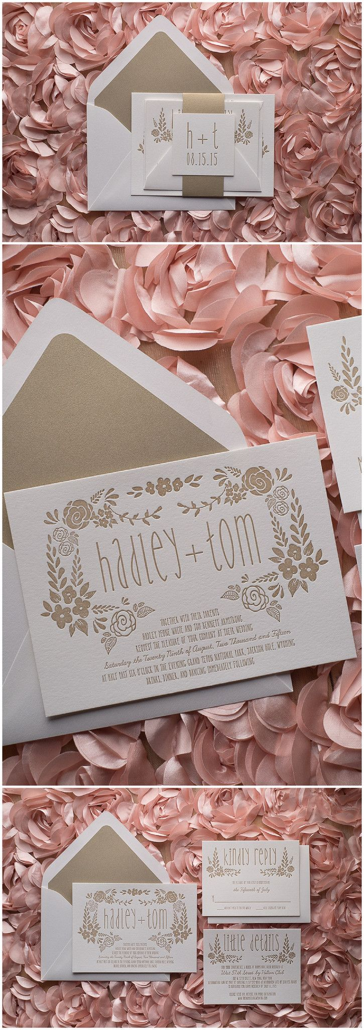 The Perfect White and Gold Romantic Letterpress Whimsical Wedding Invitation!   Hadley Suite, Letterpress, Warm Gold, Romantic, Floral Details, White and Gold, Wedding Invitations