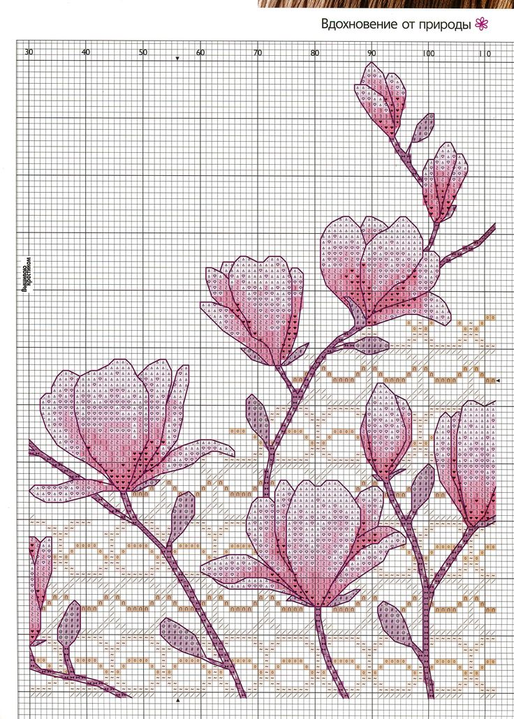 magnolia, cross stitch, intarsia knitting pattern