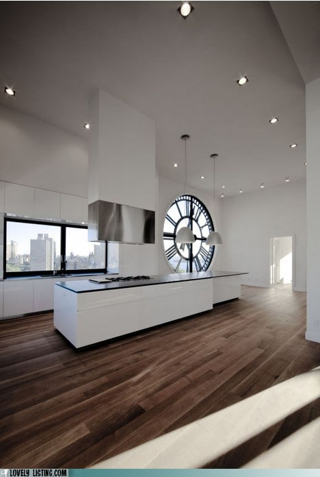 classy loft apartment, love how they used the clock :)