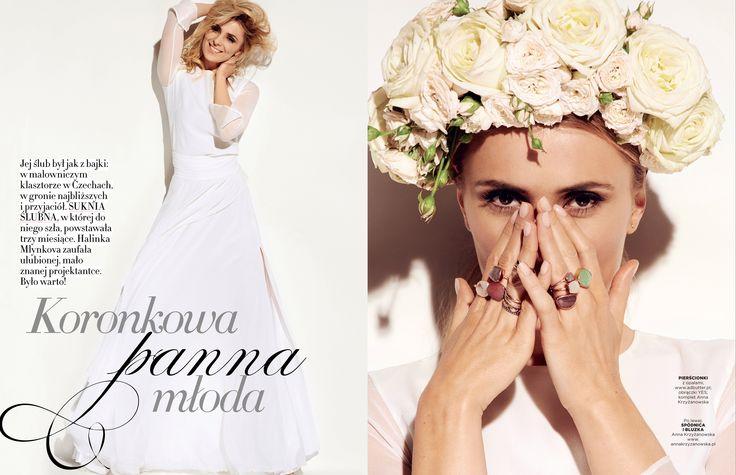 Halina Mlynkova w sesji ślubnej dla magazynu Gala.pl w obrączkach YES > www.Bit.ly/ObraczkiZloto #jewellery #wedding #rings #BizuteriaYES #buyonline #gold #silver #beauty #nature #weddingtime