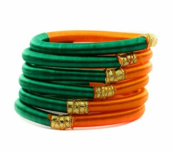 Shopo.in : Buy Silk Threaded Bangles - 6 Pieces online at best price in Chennai, India