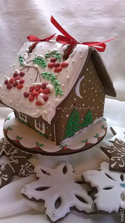 """Купить Новогодний пряничный домик """"Рябиновая кисть"""" - пряничный домик, Рябина, пряники, имбирное печенье"""
