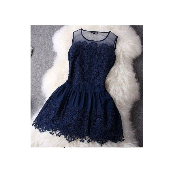 Dark Navy Blue Lace Short Homecoming Dresses Junior Simple Party... via Polyvore featuring dresses, blue lace dress, homecoming dresses, short blue cocktail dresses, lace dress and blue lace cocktail dress