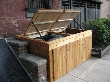 Hidden Outdoor Cedar Trash Can Storage Cabinet. Garbage Shed With Doors And  Lift Top.