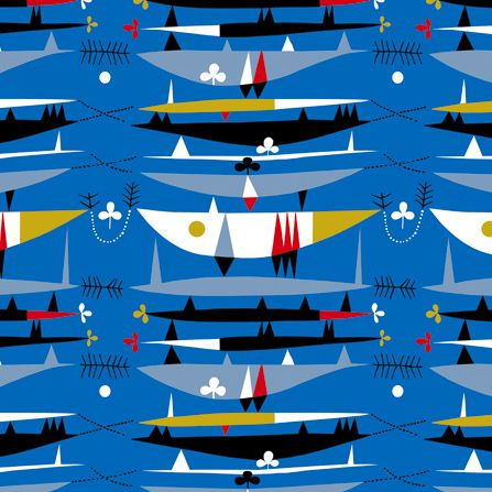 Raimoult in blue. Robert Stewart design from the 50s are being digitally reproduced by the Centre for Advanced Textiles.