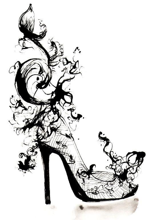 Fashion illustration - lace shoe sketch // Louise O'Keeffe