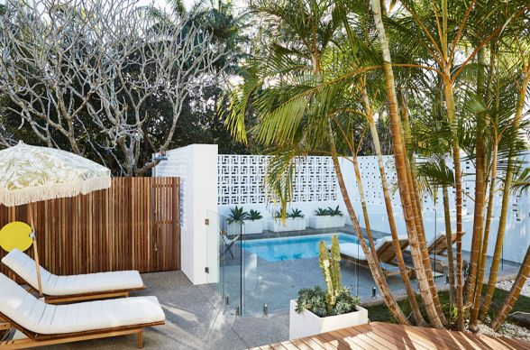 Where to go in Byron Bay..t Bask and Stow offer up relaxing plunge pools and cane hanging chairs. The secret to a successful girls getaway is a cozy sleeping cove and Bask and Stow provides exactly that.