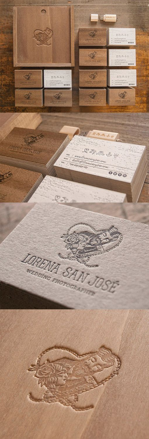 Beautiful Letterpress Printed Wood Business Card For A Wedding Photographer