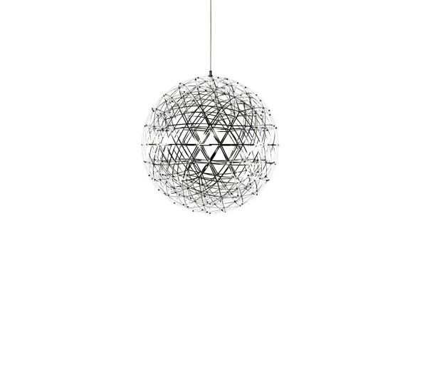 Raimond Lamp 43 is a suspension lamp, designed by Raimond Puts for Moooi. A suspension lamp that creates a magical atmosphere: Raimond transforms your room in a unique interior. Hanging from the ceiling, Raimond Lamps seem to create a starry sky, and it was just the effec the mathematician designer whose name they bear wanted for them. A perfect sphere that results from precise mathematical calculations, dotted with tiny LED lights.The yield is then a pleasant diffused white light. Ideal…