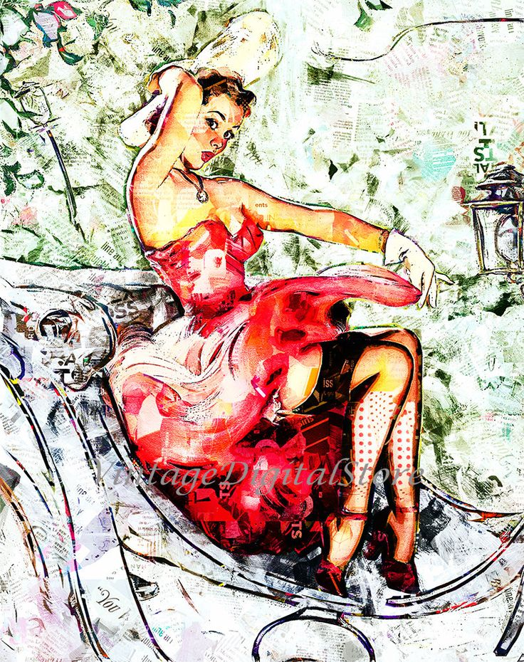 Abstract Picture Style Pin-Up, Girl in Carriage, Digital Files Download  for transfer on pillow, t-shirt, bag, canvas, paper. by VintageDigitalStore on Etsy