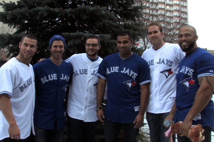 Blue Jays visit children's hospital in Montreal during the Winter Tour.