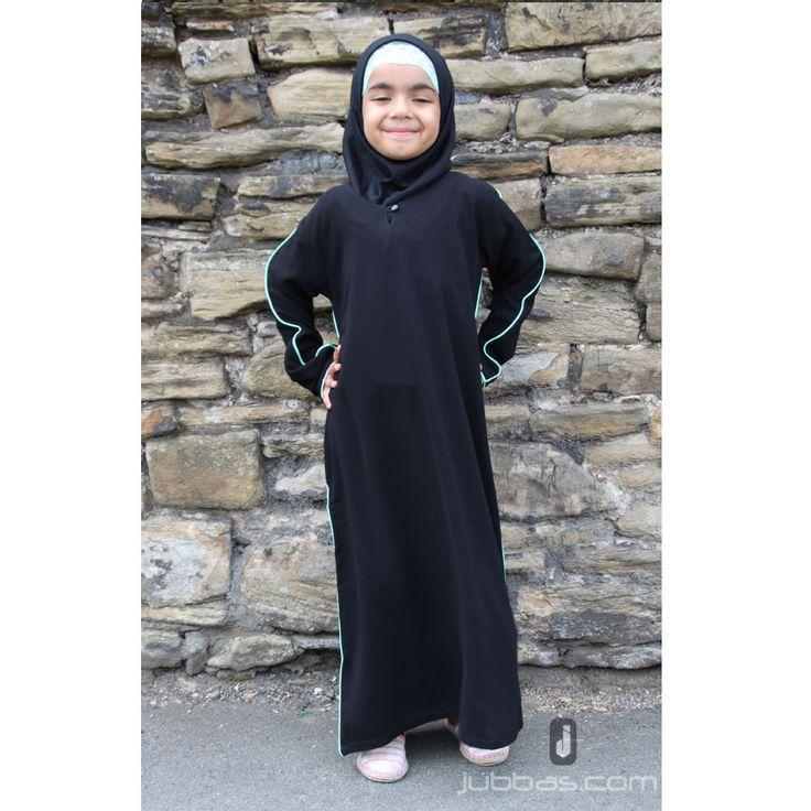 Girls Piping Abaya - Black with Green Piping
